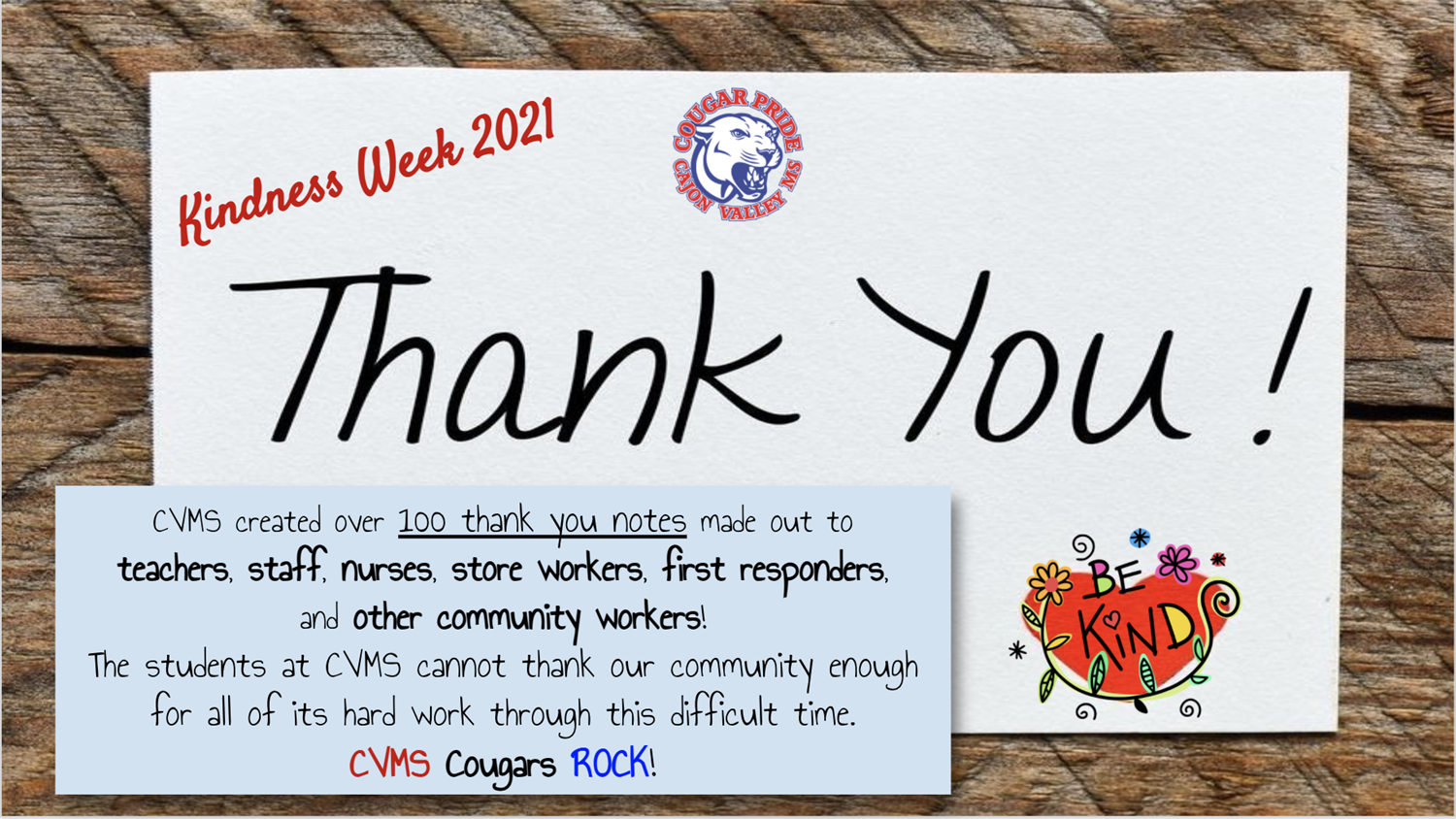 Last Week was #KindnessWeek 💗 #CVMScougars celebrated by writing thank you notes to many of our community members.  💌Thank you, teachers, staff, nurses, store workers, first responders, and other community workers for keeping us safe! #CVMScougarPRIDE