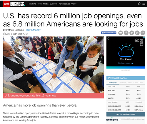 U.S. has record 6 million job openings, even as 6.8 million Americans are looking for jobs.