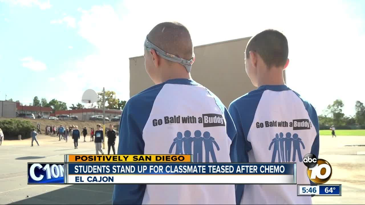 ABC 10 News: Positively San Diego: El Cajon students go bald in support of classmate