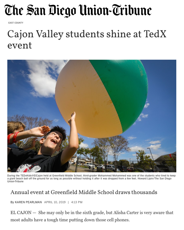 San Diego Union Tribune Article about TEDxKids@ElCajon
