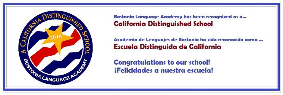BOSTONIA LANGUAGE ACADEMY OF CVUSD NAMED A CALIFORNIA DISTINGUISHED SCHOOL